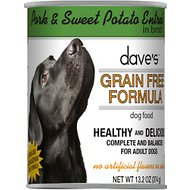 Dave's Pet Food Grain-Free Pork and Sweet Potato Entree in Broth Canned Dog Food