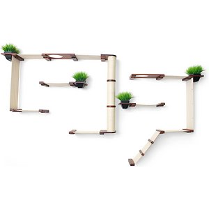 wall mounted cat tree shelf with planters