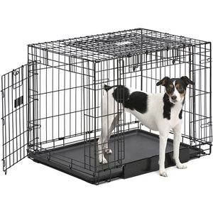 MidWest Ovation Trainer Double Door Collapsible Wire Dog Crate, Black, 30 inch; The MidWest Ovation Trainer Double Door Metal Dog Crate grows with your dog and is outfitted with dual doors for convenient, easy access. The right side of the crate features a door that slides straight up to save space, but you can also position the crate to access the standard swing-out door on the front, which is ideal for training your puppy. A divider panel allows you to adjust the size of the crate, making it smaller for a secure feeling for your puppy, then expanding into a crate large enough for your dog as he grows into an adult. A plastic leak-proof bottom pan and rubber roller feet on the crate's bottom help to protect your floors.