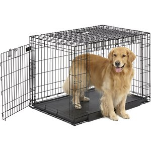 MidWest Ovation Trainer Double Door Collapsible Wire Dog Crate, Black, 43 inch; The MidWest Ovation Trainer Double Door Metal Dog Crate grows with your dog and is outfitted with dual doors for convenient, easy access. The right side of the crate features a door that slides straight up to save space, but you can also position the crate to access the standard swing-out door on the front, which is ideal for training your puppy. A divider panel allows you to adjust the size of the crate, making it smaller for a secure feeling for your puppy, then expanding into a crate large enough for your dog as he grows into an adult. A plastic leak-proof bottom pan and rubber roller feet on the crate's bottom help to protect your floors.