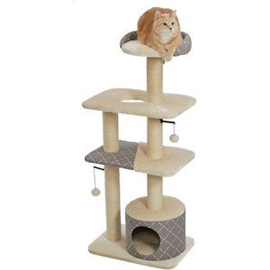 MidWest Feline Nuvo Tower 50.5-in Faux Fur Cat Tree & Condo, Tan Diamond; Give your kitty a spot of his own with the MidWest Feline Nuvo Tower cat tree. Designed specifically for your feline friend, this multi-tier cat tree offers a variety of play and lounging options. The perfect addition to any cat home, the sturdy tree features an attractive black, ultra-soft faux fur and coordinating designer print fabric to complement any home decor. It comes with a strong sisal-wrapped support to provide a tough, resilient scratching post for your cat\\\'s scratching and grooming needs. Plus, the plush, dark fabric is easy to clean from your pal's fur and accidents. Your cat is sure to love this perfect spot with elevated retreats, areas to groom and a space for him play all he wants.