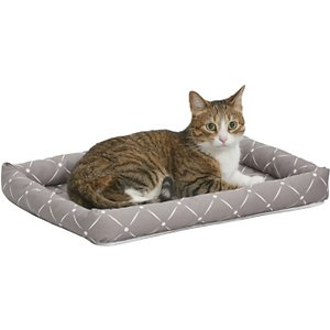 MidWest QuietTime Couture Ashton Bolster Dog Crate Mat, Mushroom, X-Small; Comfortable yet stylish, the MidWest QuietTime Couture Ashton Bolster Dog Bed offers a secure and cozy feel. The bolster design can make your best buddy's crate or carrier more comfortable, since it fits most standard crates and carrier as well as the MidWest folding metal crate line. The bolsters are soft and comfy—perfect for supporting your dog's head while he sleeps. Three trendy color patterns add a fun, stylish touch. With increased comfort, your dog may be happier to go into his crate more often and may enjoy better quality rest while in the space. The bed is machine washable and dryer friendly for easy, efficient cleaning.