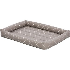 MidWest QuietTime Couture Ashton Bolster Dog Crate Mat, Mushroom, Medium ; Comfortable yet stylish, the MidWest QuietTime Couture Ashton Bolster Dog Bed offers a secure and cozy feel. The bolster design can make your best buddy's crate or carrier more comfortable, since it fits most standard crates and carrier as well as the MidWest folding metal crate line. The bolsters are soft and comfy—perfect for supporting your dog's head while he sleeps. Three trendy color patterns add a fun, stylish touch. With increased comfort, your dog may be happier to go into his crate more often and may enjoy better quality rest while in the space. The bed is machine washable and dryer friendly for easy, efficient cleaning.