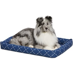 MidWest QuietTime Couture Ashton Bolster Dog Crate Mat, Blue, Medium ; Comfortable yet stylish, the MidWest QuietTime Couture Ashton Bolster Dog Bed offers a secure and cozy feel. The bolster design can make your best buddy's crate or carrier more comfortable, since it fits most standard crates and carrier as well as the MidWest folding metal crate line. The bolsters are soft and comfy—perfect for supporting your dog's head while he sleeps. Three trendy color patterns add a fun, stylish touch. With increased comfort, your dog may be happier to go into his crate more often and may enjoy better quality rest while in the space. The bed is machine washable and dryer friendly for easy, efficient cleaning.