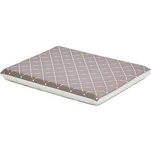 MidWest QuietTime Couture Paxton Reversible Dog Crate Mat, Mushroom / White Fleece, Large ; Add stylish comfort to your dog's crate with the MidWest QuietTime Couture Paxton Reversible Dog Crate Mat. A foam pad cushions your dog's joints and muscles for paw-some comfort and transforms an existing cage or crate into a cozy, comfortable space. The removable cover is reversible, with one side featuring a super-soft white fleece and the other decorated with a diamond pattern. The removable cover is machine washable and dryer friendly for easy cleaning. While the mat is designed to fit MidWest metal dog crates, it's also suitable for use as a stand-alone pet bed.