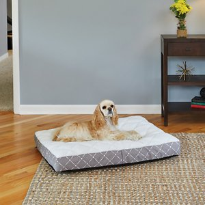 MidWest QuietTime Couture Empress Pillow Dog Bed w/Removable Cover, Mushroom/White, Medium; The MidWest QuietTime Couture Empress Extra Thick Dog Bed is an easy way to add comfort to your dog's crate or favorite corner to encourage healthy sleep and relaxation. This bed's thick poly-fiber cushion has a luxurious quilted top to offer paw-some good looks as well as comfort. And, for easy cleaning,  the zippered, removable cover can be cleaned in your washer and dryer.  Attractive fabric designs complement your home décor.