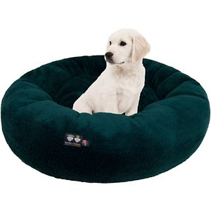 Bessie + Barnie Ultra Plush Deluxe Comfort Snuggle Bolster Cat & Dog Bed, Green, Medium; The Bessie And Barnie Ultra Plush Deluxe Comfort Pet Hunter Green Snuggle Dog & Cat Bed was designed to keep your furry friend cuddled in coziness for sleep after sleep. This rounded bed features a slightly sunken center and supported bolstered edges that are paw-fect for your best bud to rest his head and neck on. Crafted in a soft, faux-mink plush material, this accessory helps to provide a sense of security when naptime commences! The hunter green color is great for any outdoor enthusiast and the machine washable build makes it easy to keep the bed nice and clean. Because the design is reversible, you can flip over the bed as much as you want to provide your pet with a fresh sleeping surface!