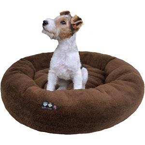Bessie + Barnie Ultra Plush Deluxe Comfort Snuggle Bolster Cat & Dog Bed, Brown, Small; Your furry friend's nap just got cozier with the Bessie And Barnie Ultra Plush Deluxe Comfort Pet Snuggle Dog & Cat Bed. This rounded bed features a slightly sunken center and supported bolstered edges that are paw-fect for your best bud to rest his head and neck on. Crafted in a soft, faux-mink plush material, this accessory helps to provide a sense of security when resting commences! The bed comes in a variety of stylish colors and the machine washable build makes it easy to keep it nice and clean. Because the design is reversible, you can flip over the bed as much as you want to provide your pet with a fresh sleeping surface!