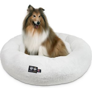Bessie + Barnie Ultra Plush Deluxe Comfort Snuggle Bolster Cat & Dog Bed, White, Large; Your furry friend's nap just got cozier with the Bessie And Barnie Ultra Plush Deluxe Comfort Pet Snuggle Dog & Cat Bed. This rounded bed features a slightly sunken center and supported bolstered edges that are paw-fect for your best bud to rest his head and neck on. Crafted in a soft, faux-mink plush material, this accessory helps to provide a sense of security when resting commences! The bed comes in a variety of stylish colors and the machine washable build makes it easy to keep it nice and clean. Because the design is reversible, you can flip over the bed as much as you want to provide your pet with a fresh sleeping surface!