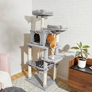 Frisco 64-in Cat Tree with Hammock, Condo, 2 Top Perches with Bed