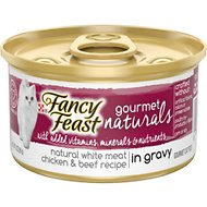 Fancy Feast Gourmet Naturals Natural White Meat Chicken & Beef Recipe In Gravy Canned Cat Food, 3-oz can, case of 12
