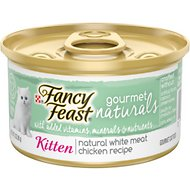 Fancy Feast Gourmet Naturals White Meat Chicken Recipe Grain-Free Pate Kitten Canned Cat Food, 3-oz can, case of 12