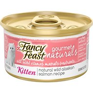 Fancy Feast Gourmet Naturals Natural Wild Alaskan Salmon Recipe Grain-Free Pate Kitten Canned Cat Food, 3-oz can, case of 12