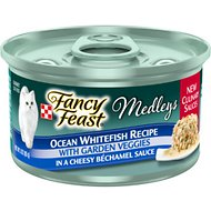 Fancy Feast Medleys Ocean Whitefish Recipe with Garden Veggies in Cheesy Bechamel Sauce Canned Cat Food, 3-oz can, case of 24