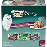Fancy Feast Medleys Seafood Collection with Garden Greens in Sauce Variety Pack Canned Cat Food, 3-oz can, case of 30