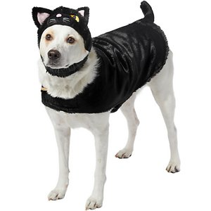 Frisco Black Cat Dog Costume, XX-Large; Black cats get a bad rap! Turn your pet into a classic black cat with this costume from Frisco. It's made from soft polyester, complete with a curly cat tail, to keep your pet comfy while they wear their costume during all your Halloween festivities. It includes hook-and-loop fasteners at the neck and belly to make sure your pet gets the best fit for them. And the separate headpiece, with embroidered eye and nose details, adds an extra dash of cuteness. These costumes are great for Halloween parties, furry photo ops and trick or treat trips. Get in the spooky spirit with Frisco!