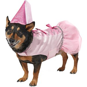 Frisco Princess Dog & Cat Costume, XX-Large; Finally, a costume to match your little princess at home! This costume includes a shiny pink dress with a flowy tulle skirt and glittery bows and a separate princess hat so your pet can really look their royal part. The dress attaches with hook-and-loop fasteners at the belly and neck, and the hat is made with ear and loop straps and an adjustable toggle to make sure you get a good fit for your little princess. Bring out your pet's inner princess with a little fairytale fun, whether you're heading to a Halloween party, having a fantastical photo op or just going out to trick or treat around their kingdom.