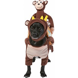 Frisco Monkeys Carrying Bananas Dog & Cat Costume, Small; This Halloween, give your pet a pawtner in crime with this full-body, immersive costume! Its two-piece, step-in design with separate head and body pieces is not only cute but comfy for your furry friend as well. It attaches to your pet's back and front legs and body for a snug, secure fit your dog will dig. Plus, it's available in six sizes so your pet won't miss out on the costume craze, no matter their size or breed. This costume is great for Halloween parties, fun photo ops and trick or treating with your furry friends. Get in the spooky spirit with Frisco!