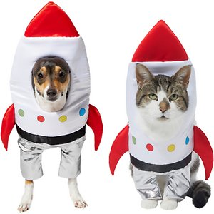 Frisco Front Walking Spaceship Dog & Cat Costume, X-Small; Blast off into fun this Halloween! This costume's super cute frontwalking design turns your pet into a walking rocket ship. Its one-piece design includes a frontwalking body piece and an attached, comfortable headpiece. It's easy to put on with hook-and-loop fasteners, which make for a great fit no matter your pet's size. This is a great costume for a Halloween party or a trick or treating trip out and about in the neighborhood. Get in the Halloween spirit with Frisco.