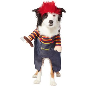 Frisco Front Walking Killer Doll Dog & Cat Costume, XX-Large; Have a spooktacular time this Halloween with this killer doll costume! This costume's spooky frontwalking design turns your pet into a walking killer doll, complete with crazy hair. Its two-piece design includes a frontwalking body piece and a separate, comfortable headpiece. It's easy to put on with hook-and-loop fasteners, which make for a great fit no matter your pet's size. This is a great costume for a Halloween party or a trick or treating trip out and about in the neighborhood. Get in the Halloween spirit with Frisco.