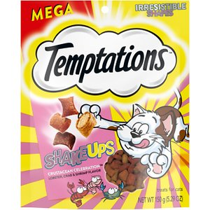 Temptations ShakeUps Crustacean Celebration Lobster, Crab & Shrimp Flavor Cat Treats, 5.29-oz bag; Shake up treat time with Temptation's ShakeUps Crustacean Celebration Lobster, Crab & Shrimp Flavor Cat Treats! These soft, yet crunchy rewards will send your kitty's taste buds on a deep sea adventure with lobster, crab and shrimp flavors that will have her purring with delight. Each treat contains less than 2 calories for a guilt-free snack you and your feline can both agree on. They are sealed in a stay-fresh pouch to help ensure your cat stays out and all the freshness stays in. Feed them as a treat, a meal or a tasty topper!