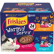 Friskies Warm'd & Serv'd Grill'd Variety Pack Wet Cat Food, 3.5-oz pouch, case of 24