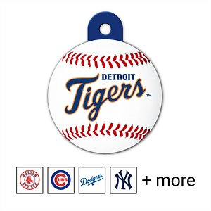 Quick-Tag Personalized MLB Circle Dog & Cat ID Tag, Large, Detroit Tigers; Get your pupper ready to make some paw-some hall of fame catches with the Quick-Tag MLB Circle Dog & Cat ID Tag. Made of solid brass, this officially licensed dog and cat tag is made to be durable and long-lasting. You can personalize it for your pet using four lines of text with room enough for serious information like names, emergency phone numbers, address, medical conditions or fun stuff like his favorite catchphrase. The laser engraving permanently etches the information you provide on the tag and is designed to never fade, no matter how much ruff-housing you guys get into. Your good boy will love swinging some paw-sitive energy towards your team at home or away with this MLB dog tag.