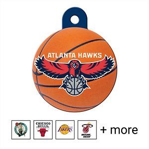 Quick-Tag Personalized NBA Circle Dog & Cat ID Tag, Large, Atlanta Hawks; You'll paw-sitively love seeing your good boy bouncing around in his new Quick-Tag NBA Circle Dog & Cat ID Tag. This officially licensed NBA dog and cat tag will make sure all his buddies know who he's picking to go all the way. You can personalize it for your pet using four lines of text with room enough for serious information like names, emergency phone numbers, email addresses, medical conditions as well as fun stuff like his favorite trick or nickname. No matter what you put on this solid brass tag, it's the paw-fect showcase for his long-lasting team loyalty.