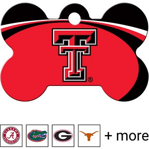 Quick-Tag Personalized NCAA Bone Dog ID Tag, Large, Texas Tech Red Raiders; Make sure your paw-some sidekick is showing some school spirit with the Quick-Tag NCAA Bone Dog ID Tag. This officially NCAA licensed bone-shaped dog tag is designed for durability with a UV-cured logo that stands up to all kinds of ruff-housing. Personalize the back with your alma mater's motto, as well as emergency information such as names, phone numbers, email addresses or medical information in case your doggo runs afield someday. Laser engraving tag means your buddy can rep his school for a long time to come.