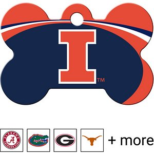 Quick-Tag Personalized NCAA Bone Dog ID Tag, Large, Illinois Fighting Illini; Make sure your paw-some sidekick is showing some school spirit with the Quick-Tag NCAA Bone Dog ID Tag. This officially NCAA licensed bone-shaped dog tag is designed for durability with a UV-cured logo that stands up to all kinds of ruff-housing. Personalize the back with your alma mater's motto, as well as emergency information such as names, phone numbers, email addresses or medical information in case your doggo runs afield someday. Laser engraving tag means your buddy can rep his school for a long time to come.