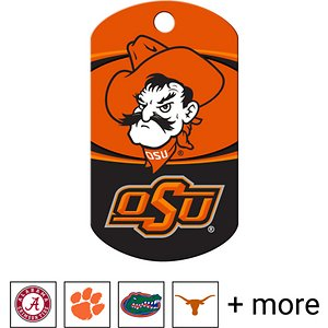 """Quick-Tag Personalized NCAA Military Dog ID Tag, Large, Oklahoma State Cowboys; Add some discipline to the way your doggo shows off his school spirit with the Quick-Tag NCAA Military Dog ID Tag. Shaped like a classic military-style """"dog tag,"""" this ID is made especially for your paw-some pupper. He'll love reppin' his favorite college team or your alma mater year-round. This tag is crafted using solid brass that stands up to all sorts of ruff-housing. You can personalize it with important emergency information like your name, phone number, address or medical information about your buddy in case he ever goes absent without leave. With up to four lines of laser-engraved text included, you can even throw in your school's motto or your doggo's nickname."""