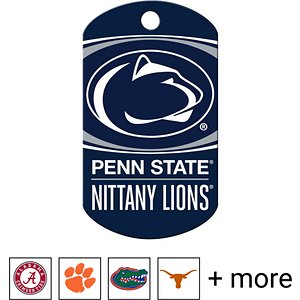 """Quick-Tag Personalized NCAA Military Dog ID Tag, Large, Penn State Nittany Lions; Add some discipline to the way your doggo shows off his school spirit with the Quick-Tag NCAA Military Dog ID Tag. Shaped like a classic military-style """"dog tag,"""" this ID is made especially for your paw-some pupper. He'll love reppin' his favorite college team or your alma mater year-round. This tag is crafted using solid brass that stands up to all sorts of ruff-housing. You can personalize it with important emergency information like your name, phone number, address or medical information about your buddy in case he ever goes absent without leave. With up to four lines of laser-engraved text included, you can even throw in your school's motto or your doggo's nickname."""