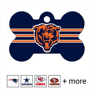 Quick-Tag NFL Bone Personalized Dog ID Tag, Large, Chicago Bears