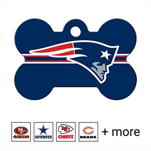 Quick-Tag Personalized NFL Bone Dog ID Tag, Large, New England Patriots; Get your doggo ready to dig into the gridiron with the Quick-Tag NFL Bone Dog ID Tag. Made of solid brass, this bone-shaped tag is tough enough to stand up to all kinds of ruff-housing. The logo is cured using ultra-violet light for long-lasting durability. You can personalize it with up to four lines of laser-engraved text that could help you reunite with your pupper should he happen to go out of bounds one day. You'll even have enough room to add your fantasy football team name, a catchphrase or inside joke in addition to important emergency information such as a phone number, email address or medical condition. Whatever you decide, your doggo will paw-sitively love showing off his long-lasting loyalty to his favorite NFL team.