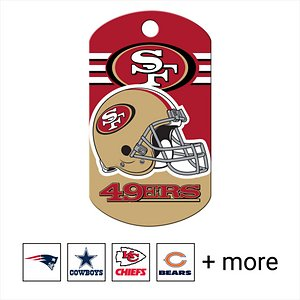 """Quick-Tag Personalized NFL Military Dog ID Tag, Large, San Francisco 49ers; Add the paw-some classic look of team loyalty to your canine's collar with the Quick-Tag NFL Military Dog ID Tag. Your doggo will paw-sitively love showing up for his team on Sundays and every day in-between. Shaped like a classic military-style """"dog tag,"""" this ID is made of solid brass that is tough enough to stand up to all kinds of ruff-housing. The logo is cured using ultra-violet light for long-lasting durability. You can personalize the ID tag with important emergency information like your name, phone number, email address or medical information in case you ever need to be reunited with your lost pupper. You'll even have enough room to add your fantasy football team name, a catchphrase or inside joke to crack up anyone who takes a closer look at your buddy's paw-some NFL tag."""