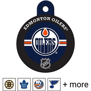 Quick-Tag Personalized NHL Circle Dog & Cat ID Tag, Large, Edmonton Oilers; Give your pupper a paw-fectly puck-shaped reminder of who he's cheering for with the Quick-Tag NHL Circle Dog & Cat ID Tag. He'll love showing some support for his favorite team and you'll love personalizing this ID tag just for him. With up to four lines of laser-engraved text possible on the backside, you can include all sorts of information from his nickname and medical condition to your phone number and email address. You'll even have enough room to add his jersey number, an inside joke or your favorite catchphrase for the lolz. Made of solid brass, this dog and cat ID tag is designed to be durable so your buddy can showcase his long-lasting loyalty for his favorite NHL team.