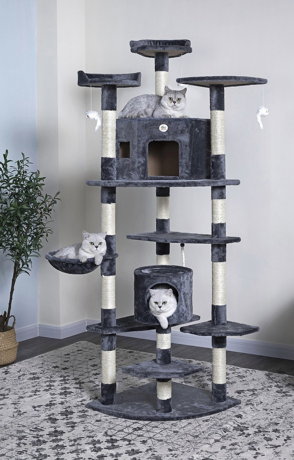 Go Pet Club 80 In Faux Fur Cat Tree Condo Gray Chewy Com