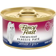 Fancy Feast Chicken Feast Pate Senior 7+ Canned Cat Food, 3-oz can, case of 24