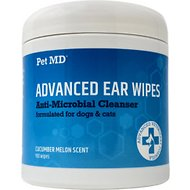 Pet MD Advanced Dog & Cat Ear Cleaner Wipes, 100 count