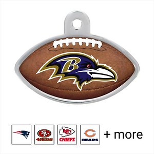 Quick-Tag Personalized NFL Football Dog & Cat ID Tag, Large, Baltimore Ravens; Get your paw-some pet all set for game day with his new Quick-Tag NFL Football Dog & Cat ID Tag. This bright and colorful pet ID tag is emblazoned with your buddy's favorite NFL team logo. It's constructed using solid brass, UV-cured ink and an epoxy coating that can stand up to all kinds of ruff-housing. Personalize your pet's new tag with up to four lines of laser engraving on the back. Include important information such as an address, phone number and medical condition or fun stuff like his favorite play and your fantasy football team name. This NFL pet tag is the paw-fect way for you and your best buddy to kick-off a new season.