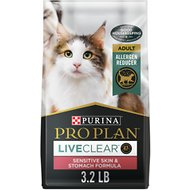 Purina Pro Plan LiveClear Sensitive Skin & Stomach Turkey & Oatmeal Formula Dry Cat Food