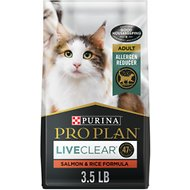 Purina Pro Plan LiveClear Probiotic High Protein Salmon & Rice Formula Dry Cat Food, 3.5-lb bag