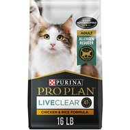 Purina Pro Plan LiveClear Probiotic Chicken & Rice Formula Dry Cat Food, 16-lb bag