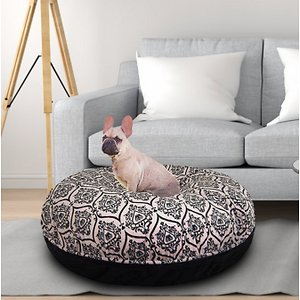 Bessie + Barnie Signature Extra Plush Faux Fur Fun Print Bagel Dog & Cat Bed, Versailles Pink/Black Puma, X-Large; Bessie + Barnie Signature Extra Plush Faux Fur Fun Print Bagel Dog & Cat Bed will fool your pet into thinking she's sleeping on a cloud! This round plush sleeping haven is available in a wide range of colors and fashionable patterns. It's designed with a 360-degree zipper, so they are easy to clean and assemble! It even features a waterproof pillow liner for added protection from accidents and the covers are 100% machine washable and dryer friendly for hassle-free cleaning! And it's completely reversible so you can choose whichever side your pet pre-furs.