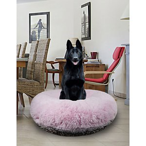 Bessie + Barnie Signature Extra Plush Faux Fur Shags Bagel Dog & Cat Bed, Bubble Gum/Versailles Pink, Small; Bessie + Barnie Signature Extra Plush Faux Fur Shag Bagel Dog & Cat Bed will fool your pet into thinking she's sleeping on a cloud! This round plush sleeping haven is available in a wide range of colors and fashionable patterns. It's designed with a 360-degree zipper, so they are easy to clean and assemble! It even features a waterproof pillow liner for added protection from accidents and the covers are 100% machine washable and dryer friendly for hassle-free cleaning! And it's completely reversible so you can choose whichever side your pet pre-furs.