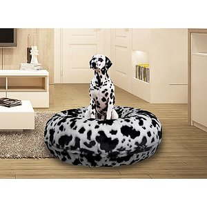 Bessie + Barnie Signature Extra Plush Faux Fur Animal Print Bagel Dog & Cat Bed, Spotted Pony, Large; Bessie + Barnie Signature Extra Plush Faux Fur Animal Print Bagel Dog & Cat Bed will fool your pet into thinking she's sleeping on a cloud! This round plush sleeping haven is available in a wide range of colors and fashionable patterns. It's designed with a 360-degree zipper, so they are easy to clean and assemble! It even features a waterproof pillow liner for added protection from accidents and the covers are 100% machine washable and dryer friendly for hassle-free cleaning! And it's completely reversible so you can choose whichever side your pet pre-furs.