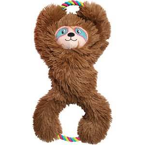 KONG Tuggz Sloth Dog Toy; Super-size your guy's playtime with the KONG Tuggz Sloth Dog Toy. This giant dog toy is designed with an extra-large body that's paw-fect for your next tug-of-woof game. It is crafted using rope ends for shaking and thrashing and a soft plush material for snuggling. Dual squeakers inside and crinkly arms outside add an auditory dimension of fun. After a day of ruff-housing that never slows down, your buddy will look forward to cuddling up with his new cozy sloth buddy.