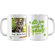 "Frisco Personalized ""All We Need is Paws"" White Coffee Mug"