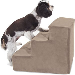 Majestic Pet Suede Dog & Cat Stairs, Stone, 3 Step; Does your playful pal need a little lift? The Majestic Pet Suede Dog & Cat Stairs are a wag-nificent way to give your curious companion the boost he needs to get to his favorite sofa, chair or hard-to-reach hideaway. The chic machine-washable suede slipcover makes for a stylish addition to any home, while the stairs themselves are made of heavy-duty-yet-lightweight material that can support up to 250 pounds of weight. What's more, the steps are cushioned to help reduce risk of injury to senior, arthritic or recovering furry friends who may have weak legs and bones. Portable, durable, practical and fashion-forward – the Majestic Pet Suede Dog & Cat Stairs are your pet's all-access pass!