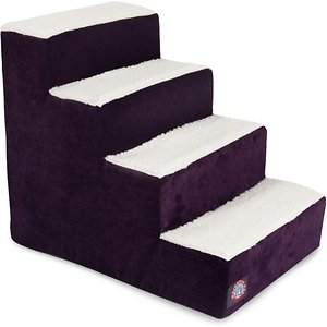 Majestic Pet Villa Dog & Cat Stairs, Aubergine, 4 Step; When your curious companion needs a little boost, reach for the stairs! The Majestic Pet Villa Dog & Cat Stairs help your pet access all his favorite sofa tops, comfy chairs and hard-to-reach spots. The chic machine-washable slipcover makes for a stylish addition to any home, while the stairs themselves are made of heavy-duty-yet-lightweight material that can support up to 250 pounds of weight. What's more, these steps feature sherpa cushions that help reduce risk of injury to senior, arthritic or recovering furry friends who may have weak legs and bones. Portable, durable, practical and fashionable – the Majestic Pet Villa Dog & Cat Stairs are your pet's all-access pass!